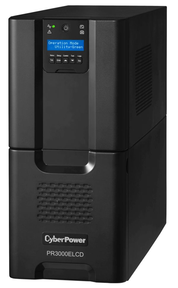 CyberPower Professional Tower Series PR3000ELCD - USV - 2700 Watt - 3000 VA 17 Ah - RS-232, USB - Ausgangsbuchsen: 9