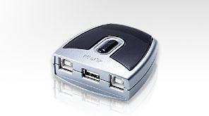 ATEN US221A - USB-Umschalter für die gemeinsame Nutzung von Peripheriegeräten - 2 x USB 2.0 - Desktop